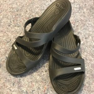 Black Size 10W CROCS Sandals